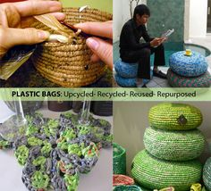 25 Ideas of How to Recycle Plastic Bags on America Recycles Day. Been making plarn for a while now. Now I just need to be creative Diy Recycling, Plastic Recycling, Recycled Plastic Bags, Recycled Crafts, Diy Crafts, Plastic Bag Crafts, Plastic Bag Crochet, Crochet Bags, Ways To Recycle