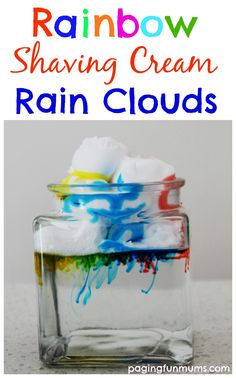 Rainbow Shaving Cream Rain Clouds. An inexpensive and fun way to learn at home!