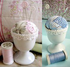 Turn an egg cup into pin cushion.. Cute idea.
