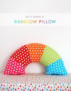 Sew a bright ranbow pillow - free sewing pattern and step-by-step tutorial via We Are Scout