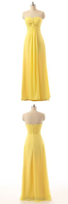 Yellow Bridesmaid Dresses, Sweetheart Prom Dresses, Long Formal Dresses, Chiffon Party Dresses