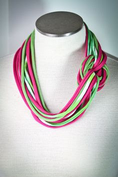 Hot Pink and Green T Shirt Jersey Infinity Scarf Necklace