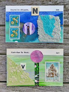 mano kellner, collagen 11x8 cm, auf briefmarkensammelkarten