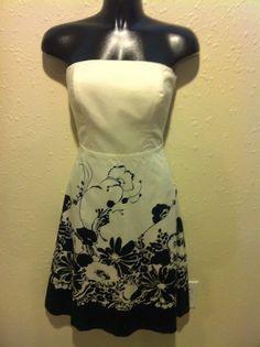 Ann Taylor Black/Ivory Floral Strapless Dress Corset NWT Size 0 Flower Border #AnnTaylor #StraplessALine #Cocktail