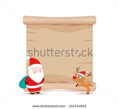 santa claus and deer parchment sign