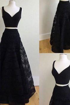 cute black two pieces lace long prom dress, black evening dress