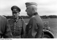 Field Marshal Erich von Manstein (right) and Gen. Hans Speidel in the Eastern Front, fall 1943. After the war, Speider continued his military career to become a high ranking commander in NATO.