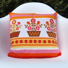 Image of Vintage Scandinavian Flowerpot Cushion Cover & Feather Inner