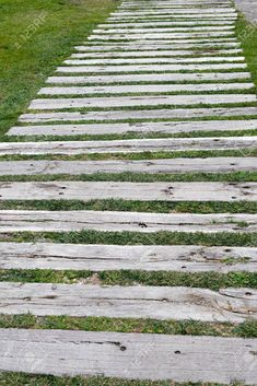 Detail of a garden path of wooden sleepers Stock Photo - 32891338