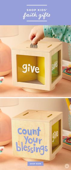 """Give, Save, Live Wooden Bank <br> Give this piggy bank to encourage a saving habit. Wooden box with clear sides marked with """"Give,"""" """"Save"""" and """"Live."""" Rotating cube has an interactive quality. Easy Diy Crafts, Diy Crafts For Kids, Kids Money Box, Diy Money Box Ideas, Wooden Piggy Bank, Diy Piggy Bank, Money Saving Box, Savings Jar, Diy Box"""