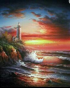 sunset with crashing waves and a light house. Beautiful!