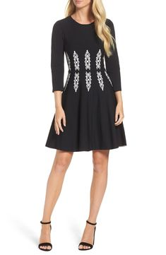14ed88f81f Free shipping and returns on Eliza J Three-Quarter Sleeve Fit  amp  Flare  Dress