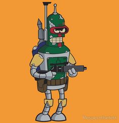 Bender Fett - Bite my shiny Mandalorian ass. Futurama, Star Wars Art, Star Trek, Starwars, Cuadros Star Wars, Digital Foto, List Of Characters, Simpsons, Pokemon