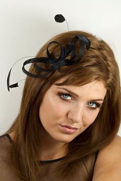 Black fascinator  with feathers  sinamay by BeChicAccessories
