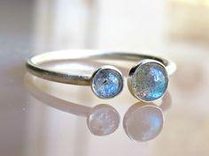 Labradorite Stack Ring Simple Labradorite by LarryJewelryShop