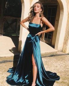 A-Line Spaghetti Straps Long Prom Dresses Cheap Evening Dresses dresses gowns Straps Prom Dresses, Hoco Dresses, Gala Dresses, Cheap Prom Dresses, Dance Dresses, Homecoming Dresses, Long Prom Gowns, Green Prom Dresses, Sparkly Dresses