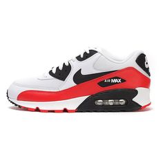 Nike Air Max 90 Essential Shoes White/Black/Light Crimson Red 537384-116
