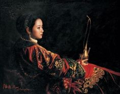 Chen Yifei - Girl with the water-pipe for tabacco