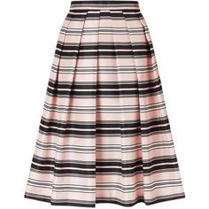 Jacques Vert Stripe Prom Skirt, Multi/Pink ($66) ❤ liked on Polyvore featuring skirts, mid calf skirts, pink knee length skirt, flared midi skirt, striped midi skirt and pink skirt