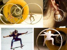 Joyas Skater girls,de plata,  personalizadas a partir de tu foto para que tengas un colgante o unos pendientes de ti mism@