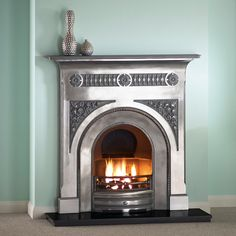 Fairburn Polished Material: Cast Iron Overall Height: 1185mm / 46.5″ Overall Width: 1220mm / 48″ Description: Full polished cast iron combination fireplace with black granite hearth for coal effect ... Read More