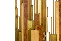 DELPHI SCREEN | BRABBU is a geometric 3 panel folding screen. Screen room divider made of elm root wood and with a brass aged patina finish. #interiordesign #home #furniture | See more http://brabbu.com/en/casegoods/delphi-folding-screen.php