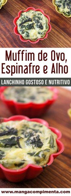 Muffin de Ovo, Espinafre e Alho | Para Lanchar ou Almoçar, um prato saudável. #receita #comida #ovos
