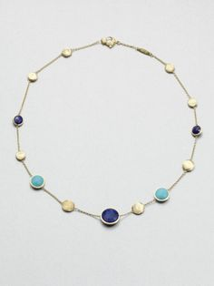 Marco Bicego Lapis Turquoise and 18k Yellow Gold Necklace in Blue - Lyst