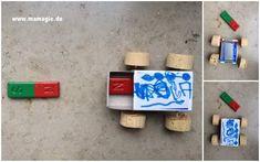 Auto basteln, das sich durch Magnete bewegt