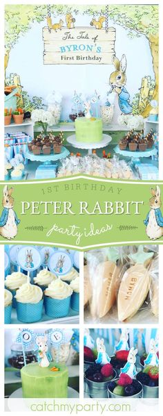 Check out this adorable Peter Rabbit 1st birthday party! The dessert table is so cute!! See more party ideas and share yours at CatchMyParty.com #rabbit #1stbirthday #girlbirthday