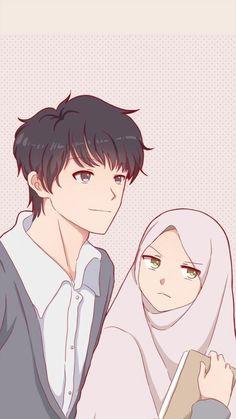kumpulan anime kartun romantis anyar - my ely Cute Muslim Couples, Cute Anime Couples, Cute Couple Art, Couple Pics, Couple Quotes, Couple Goals, Wife Quotes, Couple Selfie, Cute Couple Cartoon