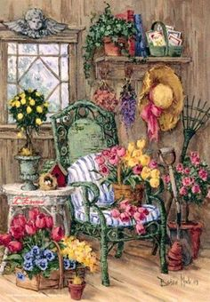 Palapeli - Barbara Mock: Cape Cod Shed, 500 palaa Garden Painting, Garden Art, Grafic Design, Arte Country, Cottage Art, Decoupage Paper, Beautiful Paintings, Vintage Images, Pretty Pictures