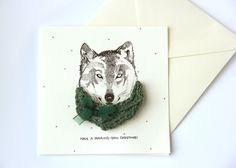 "Limited Edition ""Have a howling-good christmas"""" Wolf Christmas Card with Knitted Brooch"