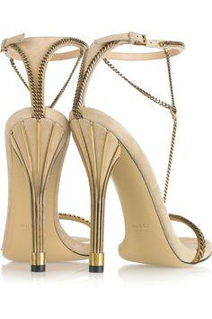 Gucci Chain-trimmed suede sandals Rawr. Design works No.587 |2013 Fashion High Heels|