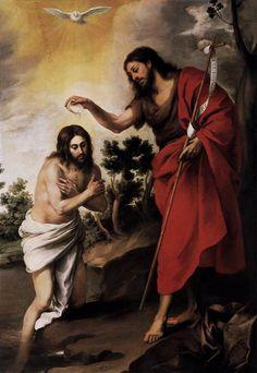 """""""Bautismo de Cristo"""". Del pintor barroco español Bartolomé Esteban Murillo. Data de 1665, realizada al óleo sobre lienzo y mide 233 x 160 cm."""