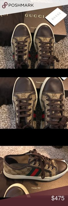 Gucci sneakers Beautiful Gucci sneakers size 37.5 fits an 8 but know ur size before buying. Wore them one time and I feel they are a bit too big for me. I'm usually a 7.5 in sneakers. No returns no low balling no trades. Gucci Shoes Sneakers