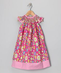 Another great find on #zulily! Hot Pink Retro Angel-Sleeve Dress - Infant, Toddler & Girls by Smocked Giraffe #zulilyfinds
