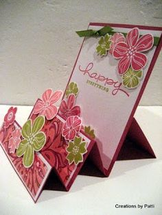 Beautiful stair step card with cutting and scoring instructions. Pink and green Eastern Blooms make this a great handmade birthday card for spring.