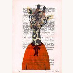 cute for little boys room     Clever Giraffe - Hand Painting Mixed Media Artwork - Coco De Paris