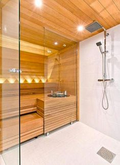 Do you want to create fabulous home sauna design ideas as your home design ideas? Creating a fabulous home sauna sounds great. In addition to making aesthetics in your home, a home sauna is very suitable for you to choose… Continue Reading → Bathroom Layout, Modern Bathroom, Small Bathroom, Bathroom Interior, Home Spa Room, Spa Rooms, Sauna Steam Room, Sauna Room, Saunas