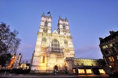 The famous landmark Westminster Abbey in London photographed in the evening.