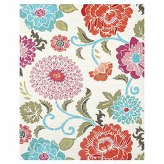 Indoor/outdoor rug with floral motif.   Product: RugConstruction Material: Polyester-acrylic blendColor: Red, white and blue Features: Suitable for indoor and outdoor use Note: Please be aware that actual colors may vary from those shown on your screen. Accent rugs may also not show the entire pattern that the corresponding area rugs have.Cleaning and Care: Spot clean with mild soap and water with garden hose.