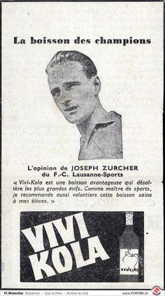 Josef Zürcher – Lausanne-Sports – Werbung für Vivi-Kola – http://fcwinterthur1896.com/josef-zuercher/