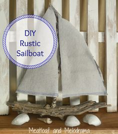 sailboat made from creosote branches and drop cloth on a mantel