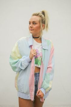 vtg 90s pastel jacket, 1990s windbreaker, pink blue orange, vintage 80s, tumblr, american apparel, soft grunge, seapunk, vaporwave fashion