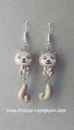 Kawaii Squirrel Earrings- Aretes de Ardillas  #earrings #polymerclay #kawaii #clay #handmade #jewelry #followme