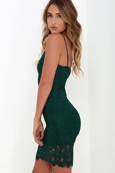 Figment of Fascination Dark Green Lace Bodycon Dress at Lulus.com! Green Homecoming Dresses, Hoco Dresses, Party Dresses For Women, Tight Dresses, Summer Dresses, Green Lace, Green Dress, Fashion Dress Up Games, Dress Fashion