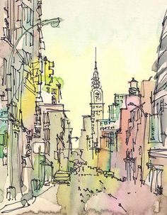 I love this pretty city drawing.