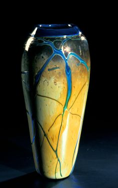"""Golden Gem Vase - Aquamarine""  Art Glass Vase  Created by Cristy Aloysi and Scott Graham"