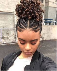 Save by hermie braids. in 2019 curly hair styles, hair styles, natural hai Natural Curls, Natural Hair Styles, Short Hair Styles, Curly Hair Styles Easy, Bun Styles, Braided Updo Natural Hair, Quick Braid Styles, Natural Hair Twists, Dyed Natural Hair
